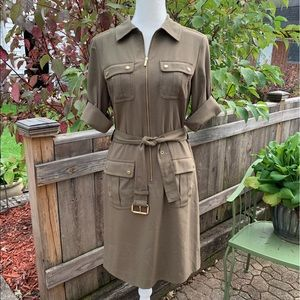 Michael Kors olive green shirt dress with belt